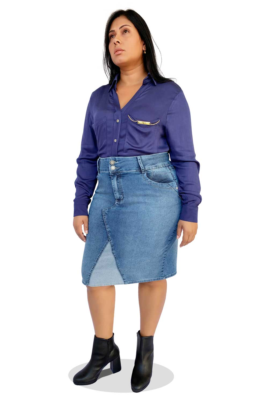 Saia Jeans Midi Plus Size Desfiada Dyork Moda Evangélica