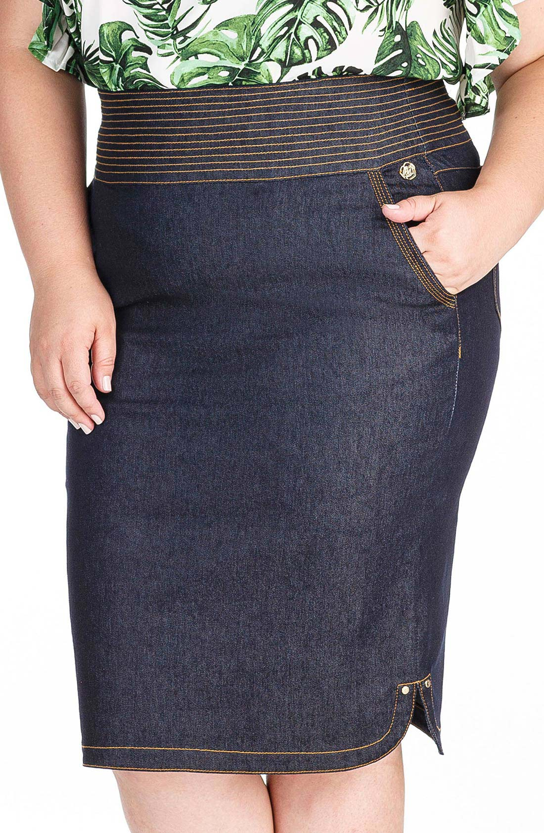 Saia Jeans Midi Plus Size Dyork Jeans