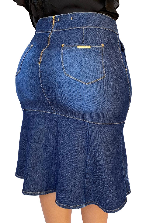 Saia Jeans Midi Sereia Plus Size Dyork Moda Evangélica