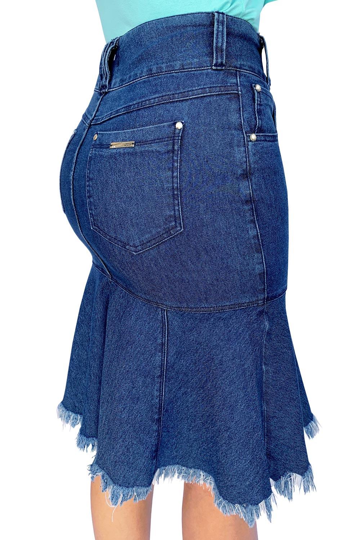 Saia Jeans Midi Sky com Barra Evasê Dyork Jeans