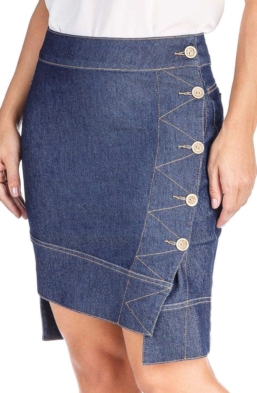 Saia Jeans Mullet Botões LateraisDyork Jeans