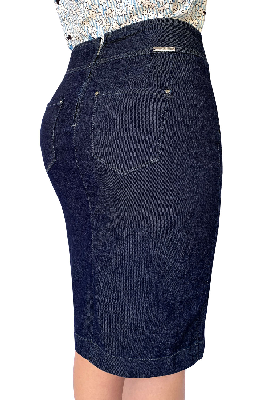 Saia Jeans Plus Size Midi Escura Dyork Moda Evangélica