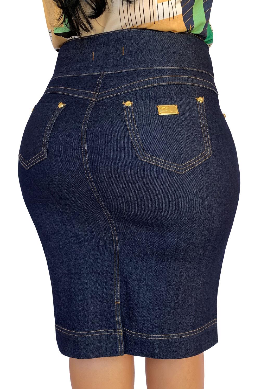 Saia Jeans Plus Size  Midi Ziper Laberal Dyork Moda Evangélica