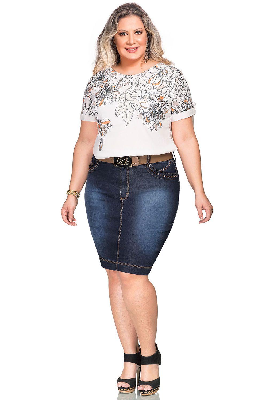Saia Jeans Plus Size Secretária com amarrações Dyork Jeans