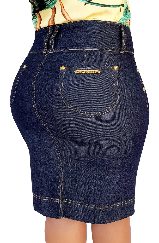 Saia Jeans Plus Size Secretária Cós Largo Dyork Moda Evangélica