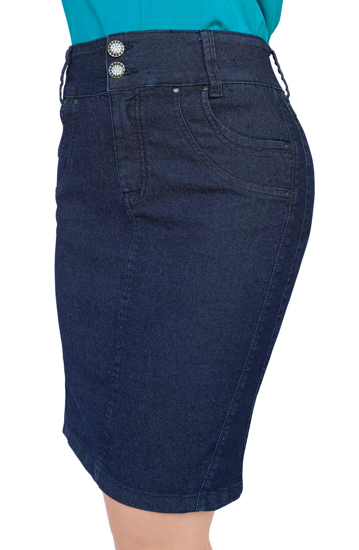 Saia Jeans Plus Size Secretária Dyork Moda Evangélica