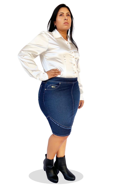 Saia Jeans Plus Size Secretária Recorte Desfiado Dyork Moda Evangélica