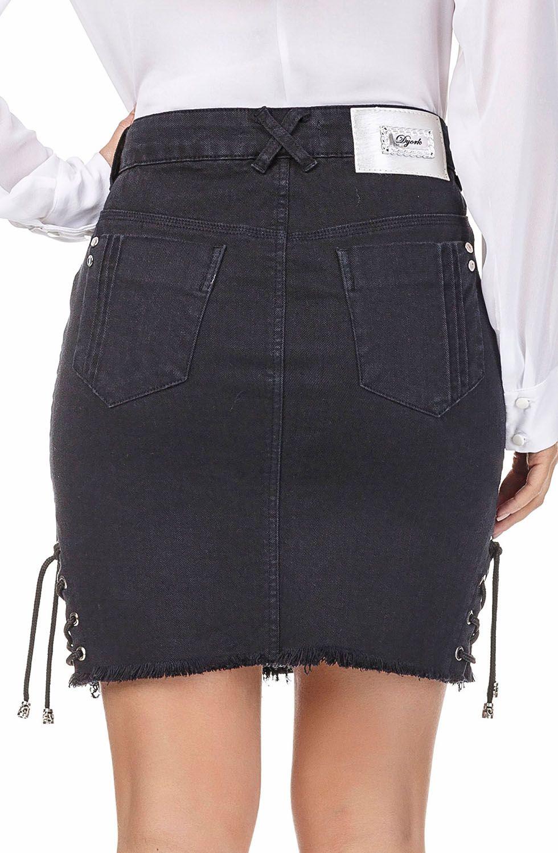 Saia Jeans Preta Curta com Amarração Lateral Dyork Jeans