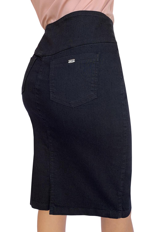 Saia Jeans Preta Elastano Dyork Moda Evangélica
