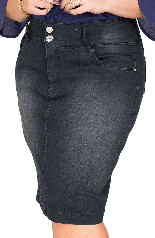 Saia Jeans Preta Plus Size Dyork Jeans