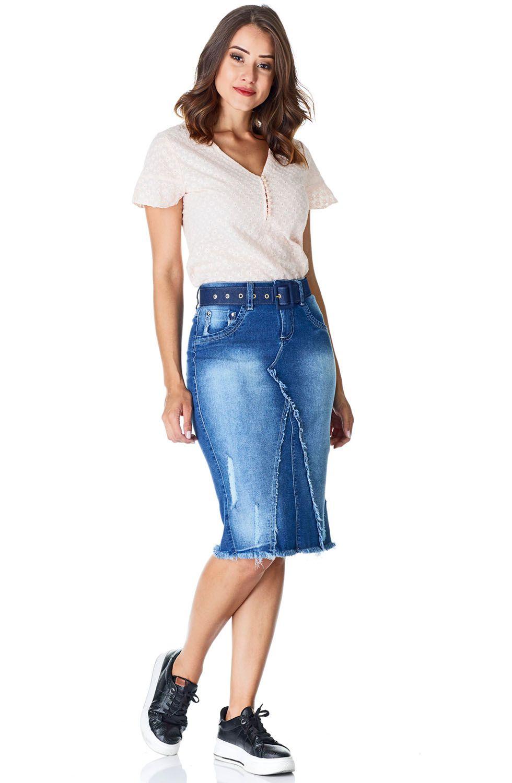 Saia Jeans Recortes E Barra Desfiada Dyork Jeans