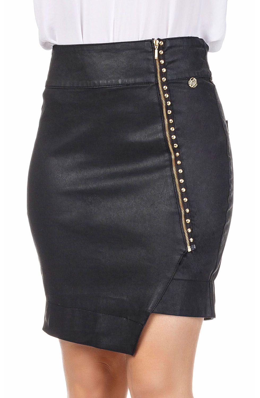 Saia Jeans Resinada Curta Clássica com Zíper Frontal e Barra Assimétrica Dyork Jeans