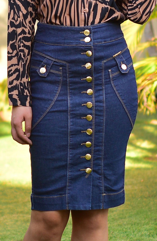 Saia Jeans Reta Abotoamento FrontalDyork Jeans