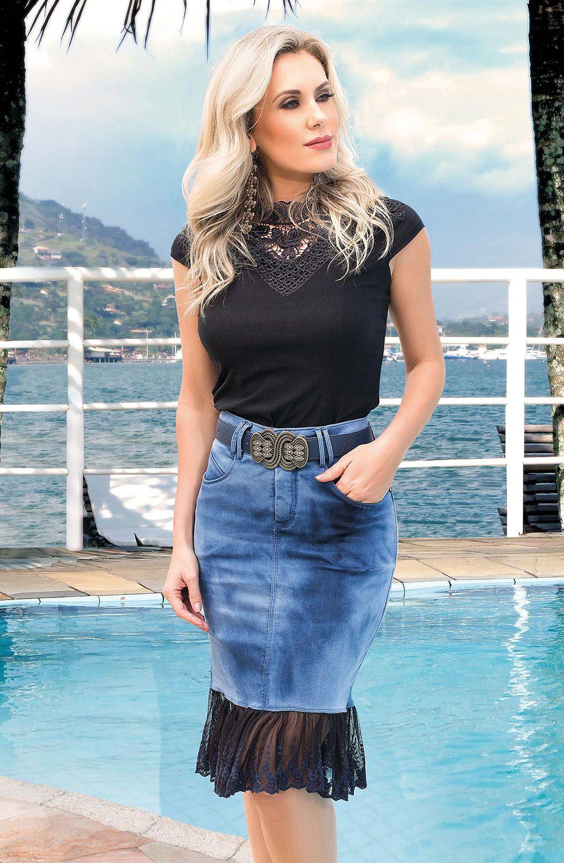 Saia Jeans Reta Barrado Em Lesie Azul Marinho Dyork Jeans