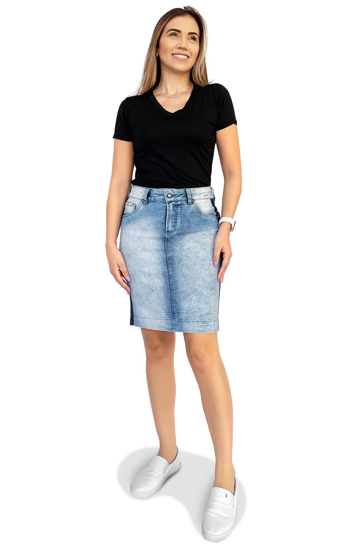 Saia Jeans Secretária Clara Marcação Escura na Lateral Dyork Moda Evangélica