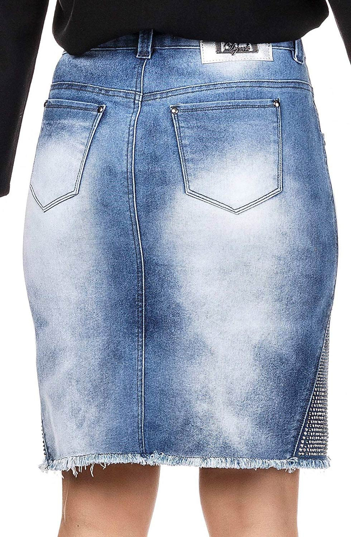 Saia Jeans Secretária com Aplicação de Termocolantes e Barra Desfiada Dyork Jeans