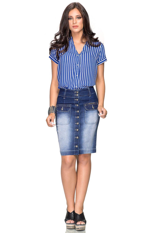 Saia Jeans Secretária com Botões e Bolsos Frontal  Dyork Jeans