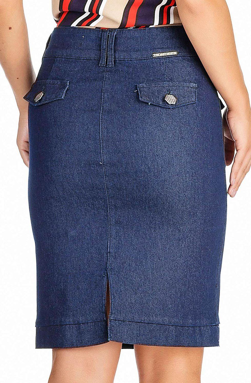 Saia Jeans Secretária com Botões na Frente Dyork Jeans