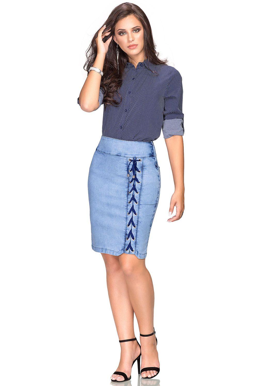 Saia Jeans Secretária com Detalhe de Cadarços  Dyork Jeans
