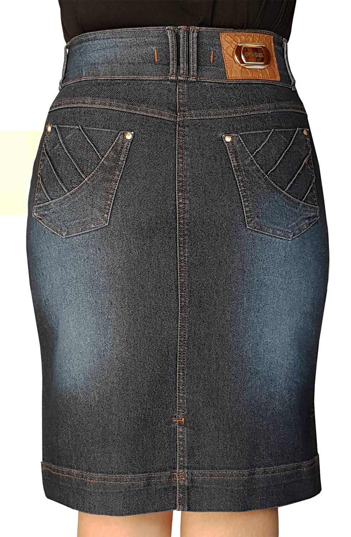 Saia Jeans Secretária com Nervuras Dyork Jeans