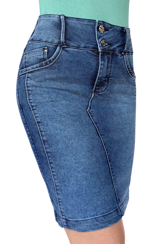 Saia Jeans Secretária Cós Largo Recortes Laterais Dyork Moda Evangélica