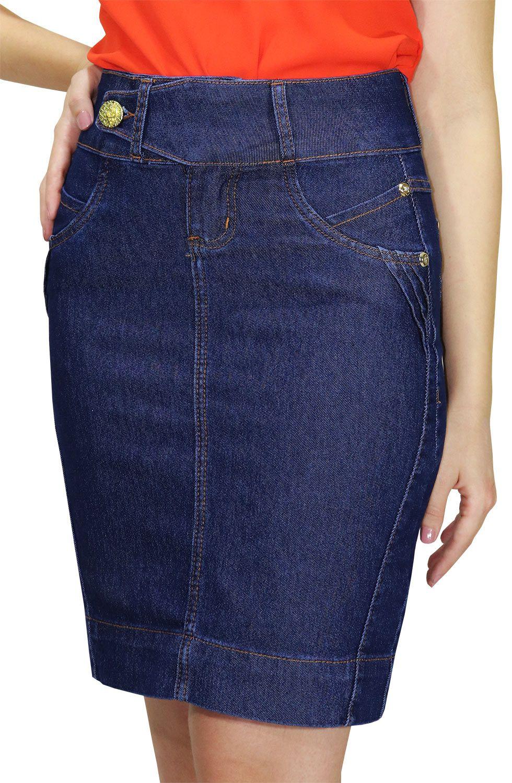 Saia Jeans Secretária Cós Transpassado Enfeites de Pregas Viradas Dyork Jeans
