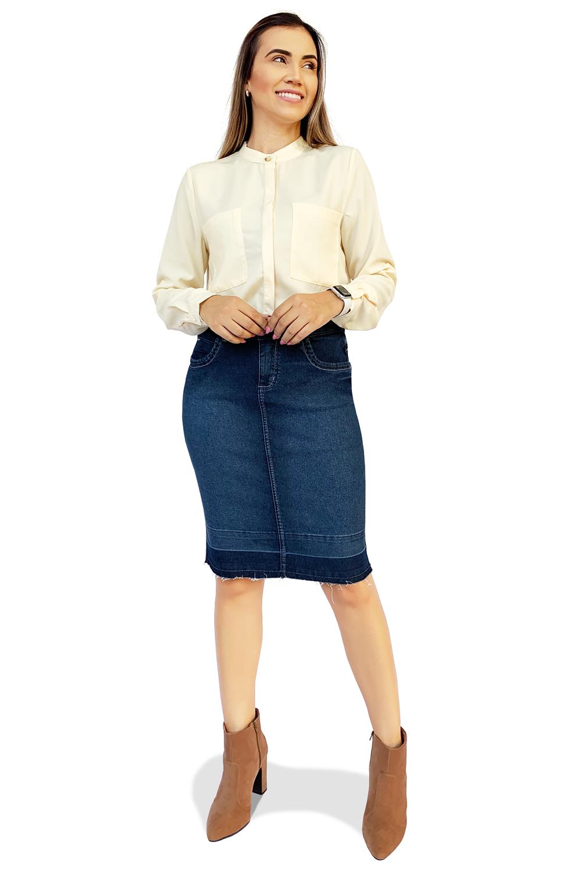 Saia Jeans Secretária Escura Barra Desmanchada Dyork Moda Evangélica