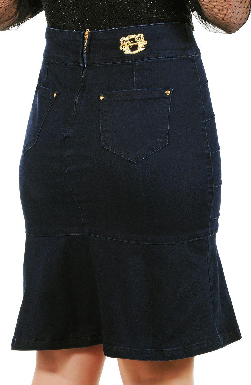Saia Jeans Secretária Nervuras e Barra Evasê Dyork Jeans