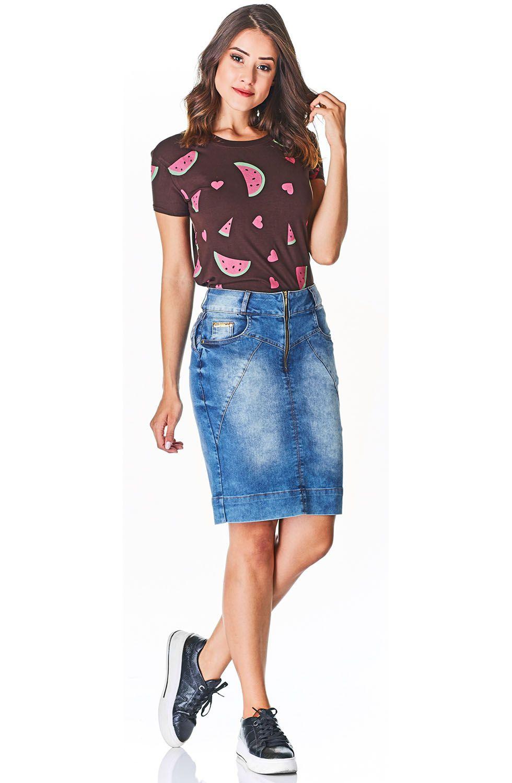 Saia Jeans Secretária Zíper Frontal Aparente Dyork Jeans