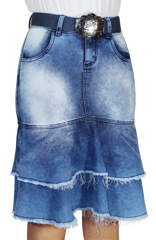 Saia Jeans Sino Babados Com Barras Desfiadas Dyork Jeans