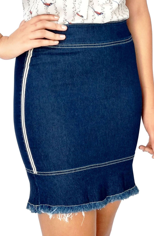 Saia Jeans Sino Com Galão Lateral Dyork Jeans