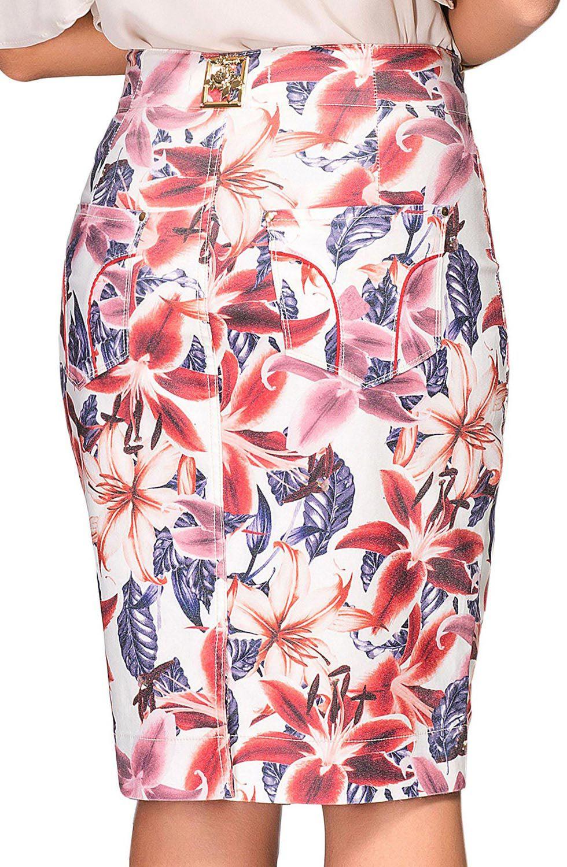 Saia Lápis Estampa Floral Dyork Jeans