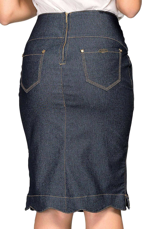 Saia Lápis Jeans Barra Assimétrica com Tachinhas Dyork Jeans