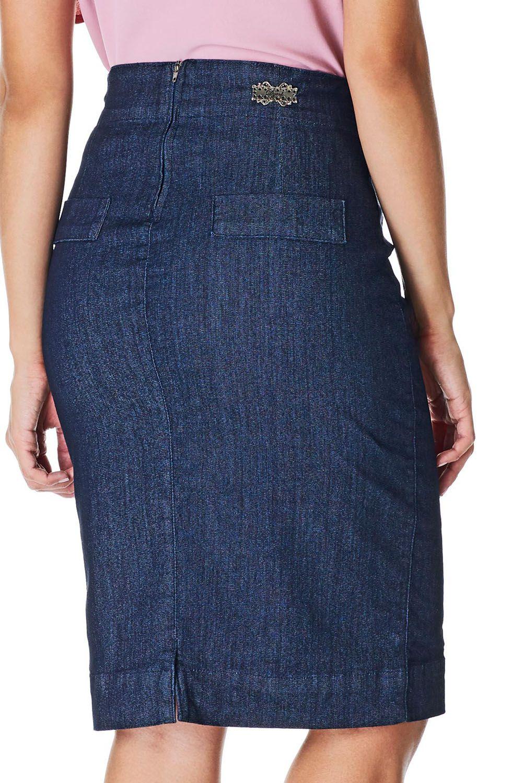 Saia Lápis Jeans Cinto Embutido Dyork Jeans