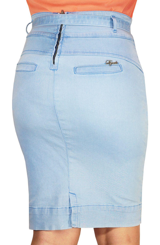Saia Lápis Jeans Claro com Cinto de Amarração Dyork Jeans