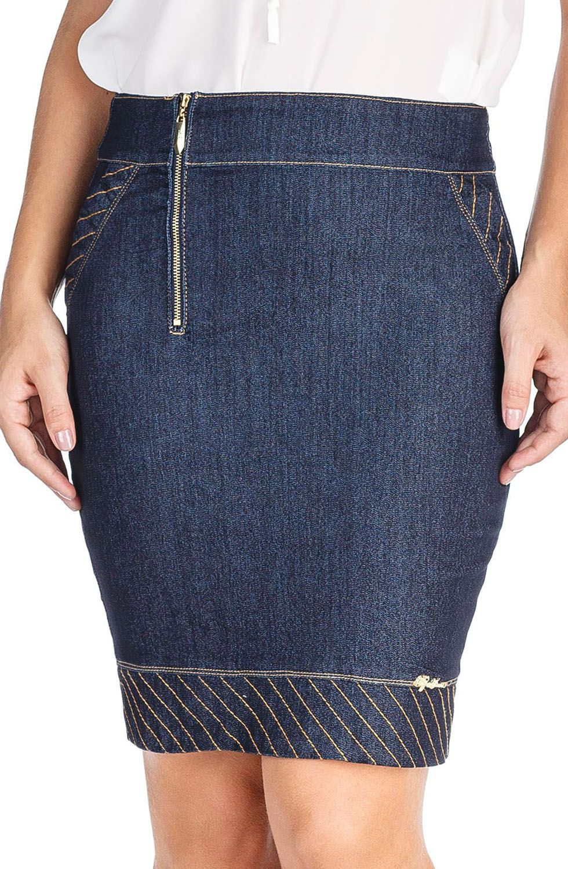 Saia Lápis Jeans Detalhe Zíper Dyork Jeans