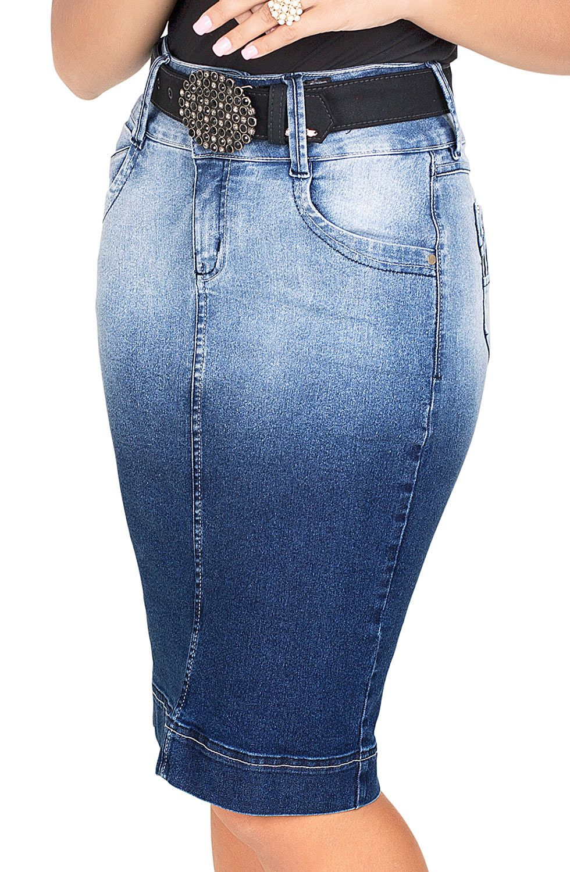 Saia Lápis Jeans Midi Degradê Dyork Jeans