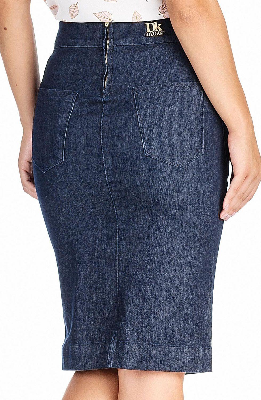 Saia Lápis Jeans Midi Escura Dyork Jeans