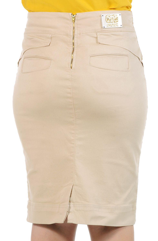 Saia Lápis Midi Cáqui com Cinto Largo Dyork Jeans