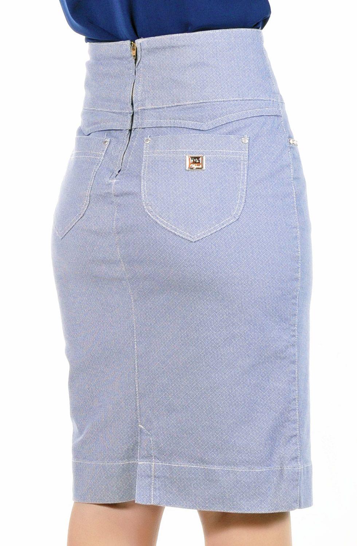 Saia Lápis Midi Estampada Azul Claro Dyork Jeans