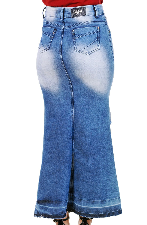 Saia Longa Jeans Abertura e Botões Frontais Dyork Jeans