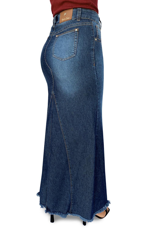 Saia Longa Jeans Barra Desfiada Dyork Jeans