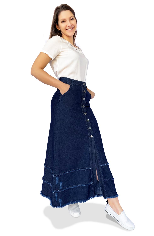 Saia Longa Jeans Botões Evasê Dyork Moda Evangélica