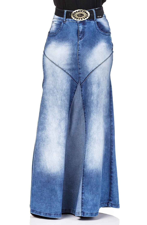 Saia Longa Jeans com Recortes Dyork Jeans
