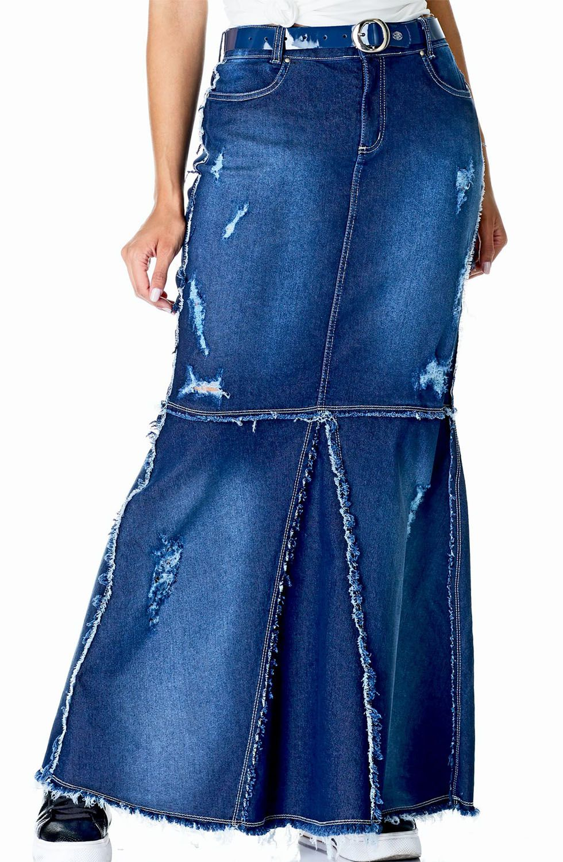 Saia Longa Jeans Destroyed Com Recorte Dyork Jeans