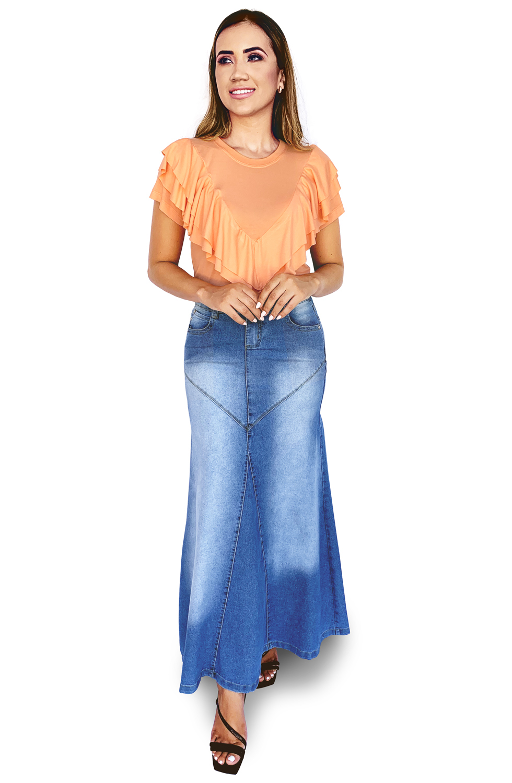 Saia Longa Jeans Evasê Recorte em V Dyork Jeans