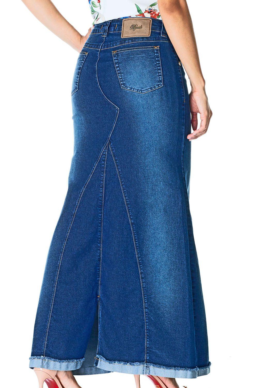 Saia Longa Jeans Sereia Barra ViradaDyork Jeans