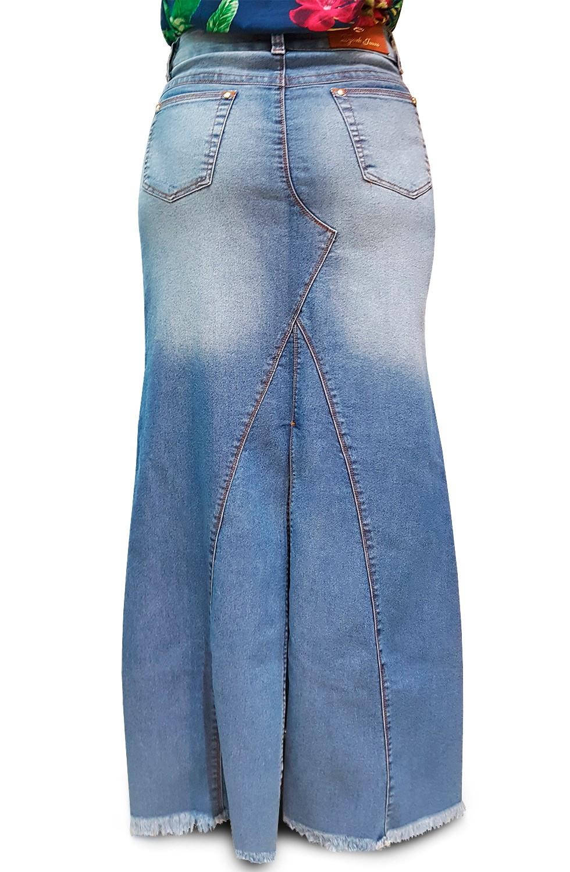 Saia Longa Jeans Sky Barra Desfiada Dyork Jeans