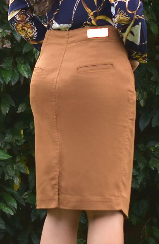 Saia Marrom Botões Frontais Dyork Dyork Jeans