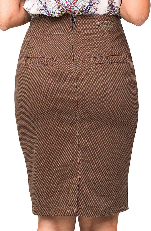 Saia Marrom Estampada com Abertura e Recorte Frontal na Diagonal Dyork Jeans